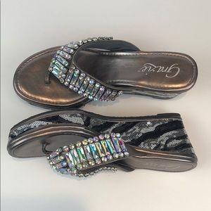 Grazie glittering wedge flip flops size :10